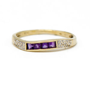 Amethyst & Diamond Wave Band